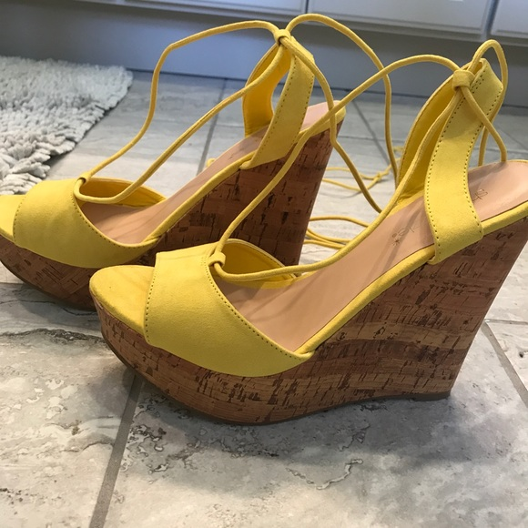 30813c53de4 yellow suede lace up wedges. M 5aac17bf077b97bd9cd32ff7